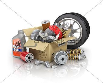 Auto parts in the cardbox. Automotive basket shop. Auto parts st