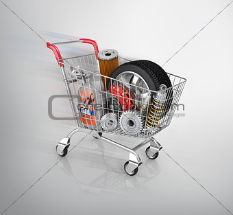 Auto parts in the trolley. Auto parts store. Automotive basket s