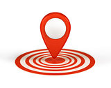 Map pointer with arrows and globe icon. Vector illustration