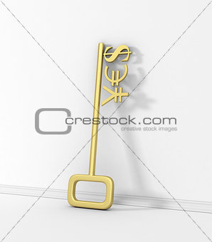 Gold currency symbols on the key with the word yes on the wall.