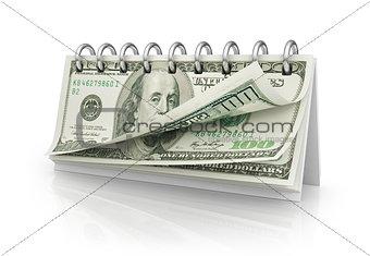 Calendar with dollar bills.