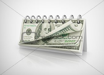 Calendar with dollar bills.