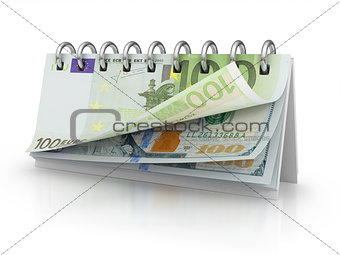 Calendar with dollar and euro bills.