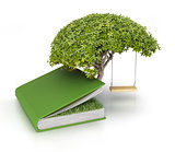 Tree of knowledge growing out of book