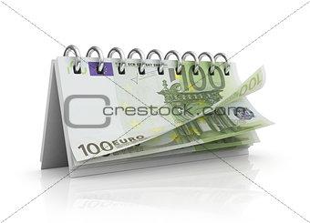 Calendar with euro bills.