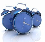 3d illustration of glossy alarm clocks against white background