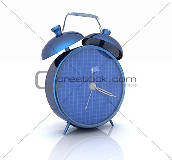 3d illustration of glossy alarm clock against white background
