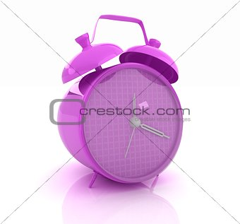 3d illustration of glossy purple alarm clock against white backg