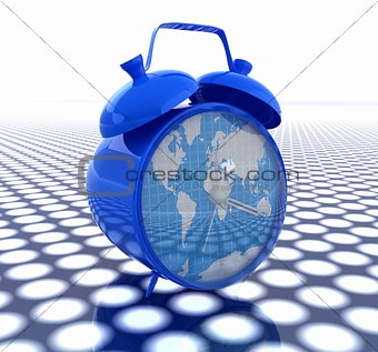 3d illustration of glossy clock of world map. Time concept