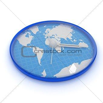 Clock of world map
