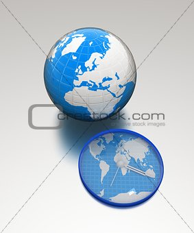 Clock of world map and earth
