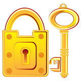Gold lock and key