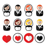 Groom and bride, wedding icons - black, blonde, ginger hair, brunette