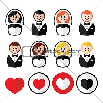 Groom and bride, wedding icons - black, blonde, ginger hair, brunette