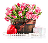 Bunch pink roses with gift to day saint valentine