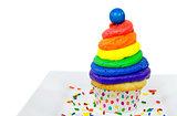 rainbow icing on cupcake