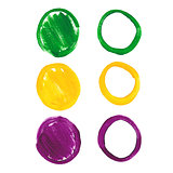 Mardi Gras acrylic circles.