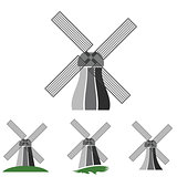 windmill silhouettes set