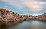 dusk over mountain lake