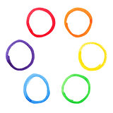 Colorful watercolor circles set.