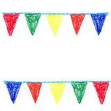 Wax crayon party bunting, isolated on white background.