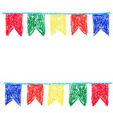 Wax crayon party bunting, isolated on white background