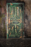 Closed old wooden door