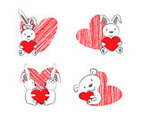 Valentine's Rabbits and Bear with Red Heart