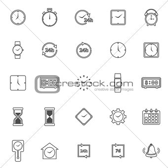 Time line icons on white background
