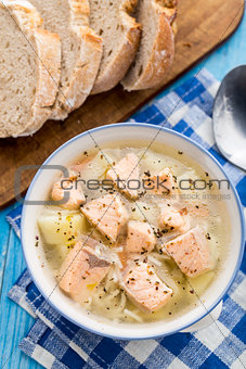Fish soup in a bowl