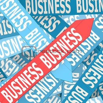 Business word on arrow
