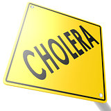 Road sign with cholera
