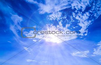 Blue Sky with sunlight rays over Pattaya City, Thailand