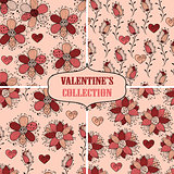 Vector seamless Floral Valentine's Patterns