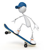 white little man on a skateboard