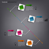 Time line info graphic colored square element template