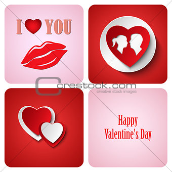 Valentine red decoration card made from white paper