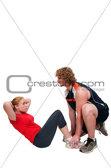 Couple doing sit ups