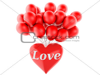 3d red heart and colorful balloons, valentine's day concept  iso