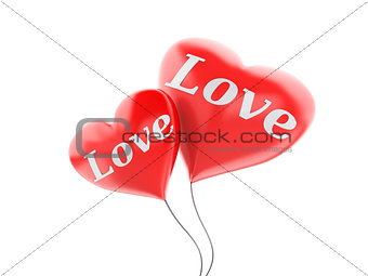 3d red heart balloons. valentine's day concept isolated on white