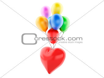 3d red heart and balloons, valentine's day concept  isolated on