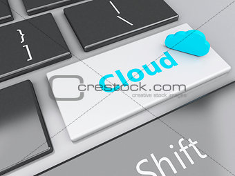 3d Cloud Application on computer keyboard. Cloud computing conce