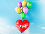 3d red heart and colorful balloons. valentine's day concept in t