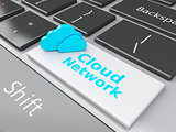 3d Cloud Network on computer keyboard. Cloud computing concept