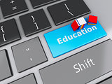3d books icon on computer keyboard. Education concept.