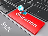 3d Earth icon on computer keyboard. Education concept.