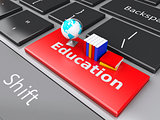3d books and earth icon on computer keyboard. Education concept.