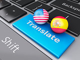 3d translation button on Computer Keyboard. Translating Concept.