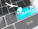 suitcase, airplane and earth on computer keyboard. Travel concep