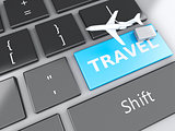 travel suitcase and airplane on computer keyboard. Travel concep